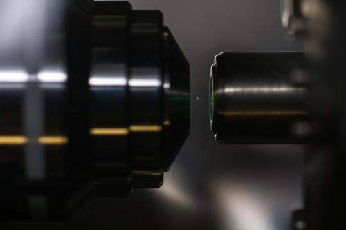 Researchers optically levitate a glowing, nanoscale diamond