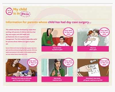 New website helps parents manage children's pain after surgery