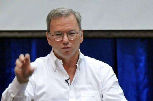 Google chairman Eric Schmidt speaks during a conference at a technology park in Yangon on March 22, 2013