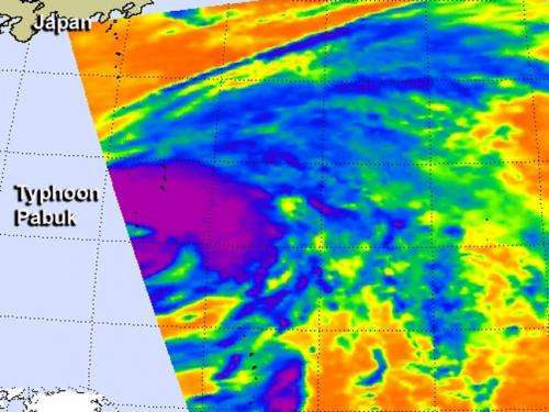 Infrared NASA image shows strength in Typhoon Pabuk's eastern side