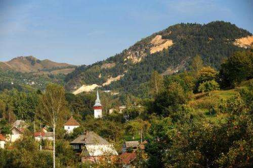 This photo taken on September 20, 2011 shows a general view of Rosia Montana village