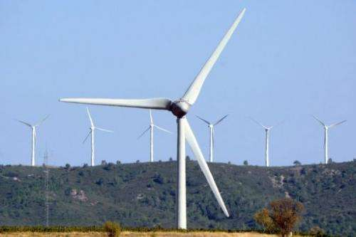 Wind turbines near Lezignan, southern France on September 16, 2012