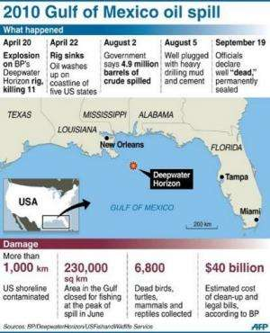 Graphic on the 2010 Deepwater Horizon disaster that killed 11 oil rig workers and spilled 4.9 mn barrels of crude oil