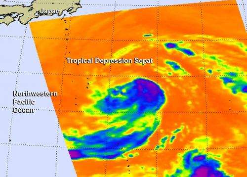 Infrared NASA imagery shows some strength in Tropical Depression Sepat