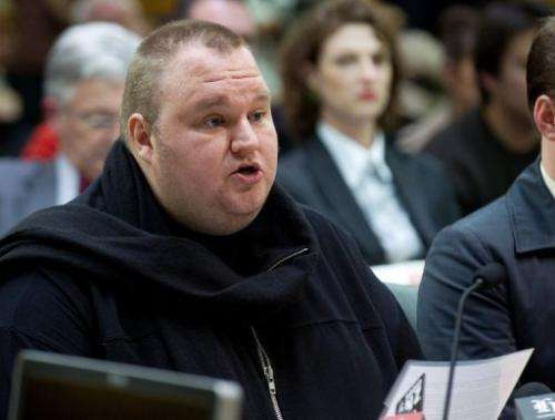 Megaupload founder Kim Dotcom speaks at Bowen House in Wellington, New Zealand on July 3, 2013