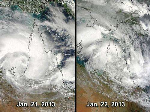 NASA sees Tropical Cyclone Oswald weaken over Queensland's Cape York Peninsula