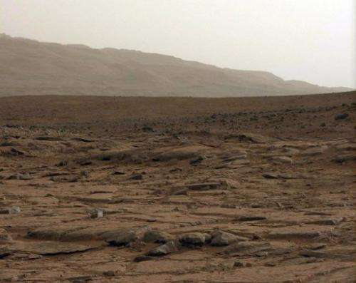 A general view captured from NASA's Mars rover Curiosity on  January 27, 2013