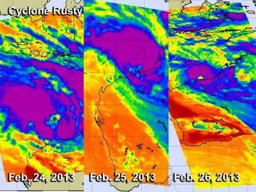 NASA satellites see slow-moving Cyclone Rusty before landfall
