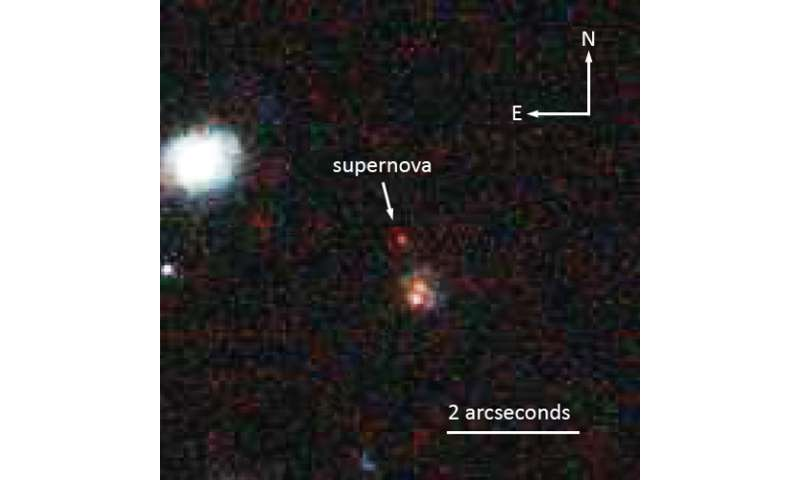 The farthest supernova yet for measuring cosmic history