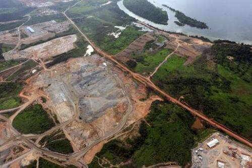 An aerial view of the first stage of the Belo Monte Hydroelectric Plant dam construction, in a site named Power House on the Xin