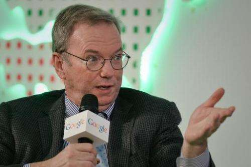 Google Executive Chairman Eric Schmidt speaks at the Chinese University in Hong Kong on November 4, 2013