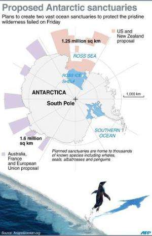 Graphic showing two proposed ocean sanctuaries off Antarctica to protect the pristine wilderness which failed Friday for a third
