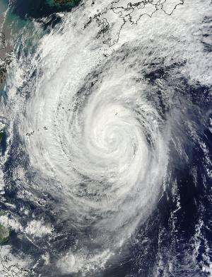 NASA sees heavy rain in Typhoon Francisco, now affecting southern Japanese islands