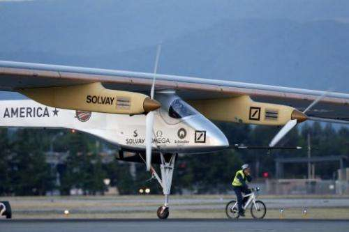 The Solar Impulse solar electric airplane takes off at Moffett Field on May 3, 2013 in Mountain View, California
