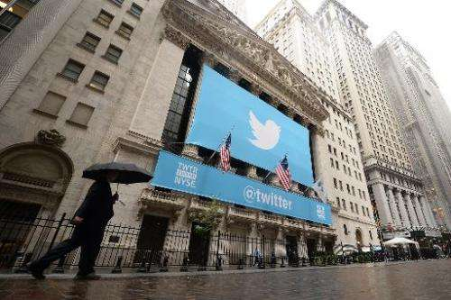 A banner with the logo of Twitter is set on the front of the New York Stock Exchange (NYSE) on November 7, 2013 in New York