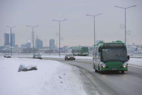 A bus plies a frozen Tallinn road on January 17, 2013