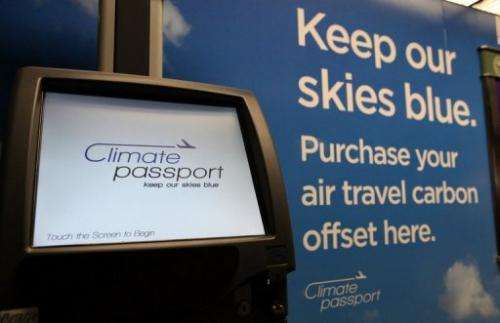 A Climate Passport carbon offset kiosk is displayed on September 29, 2009 in San Francisco, California