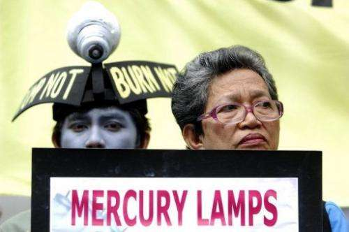 Activists wear mock lamps in Manila on October 22, 2009 to alert people to the dangers of dumping mercury lamp waste