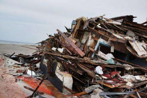A destroyed home on the beach at Bell Harbor, New York City, on April 29, 2013, six months after Hurricane Sandy struck