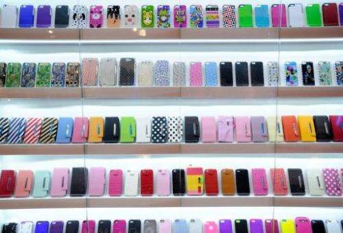 A display of mobile phone covers are seen at the Consumer Electronics Show on January 9, 2013 in Las Vegas, Nevada