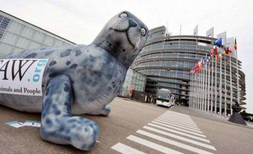 A giant seal set by the International Fund for Animal Welfare in front of the European Parliament, May 5, 2009