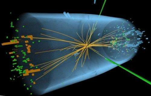 A graphic by CERN in Geneva shows  traces of a proton-proton collision measured in the search for the Higgs boson