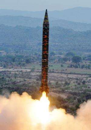 A Hatf V Ghauri nuclear-capable ballistic missile launching from an undisclosed location in Pakistan, on November 28, 2012