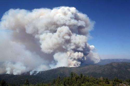 A huge wildfire burns at Yosemite National Park, in a photo obtained on August 28, 2013 from the US Forest Service.