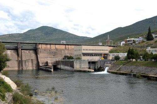A hydro powerplant dam on river Trebisnjica on September 13, 2013
