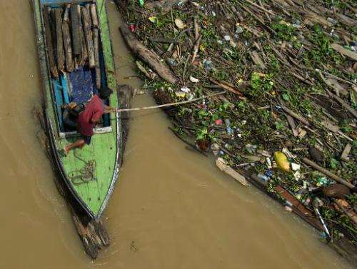 A man collects waste logs from the Mahakam river in Samarinda, East Kalimantan, on November 10, 2013
