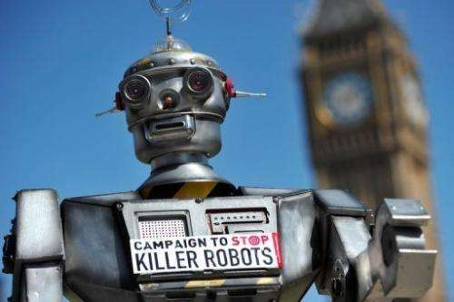 "A mock ""killer robot"" pictured in London on April 23, 2013 during the launch of the Campaign to Stop ""Killer Robo"