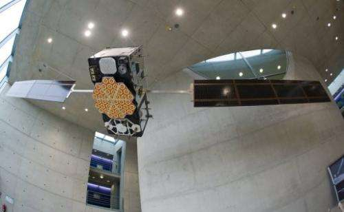 A model of the Galileo satellite hangs at the German Aerospace Center in Oberpfaffenhofen, on October 20, 2011