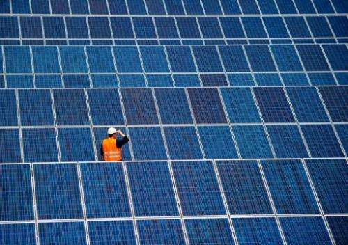 An employee stands between solar panels in the grounds of the airport in the Finowfurt city, Germany on June 14, 2010