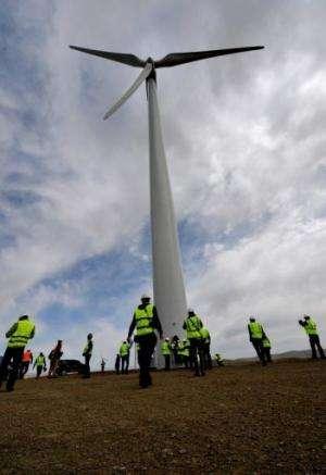 A newly installed turbine at the Salkhit Mountain wind farm, 70 kilometres from Ulan Bator, June 4, 2013
