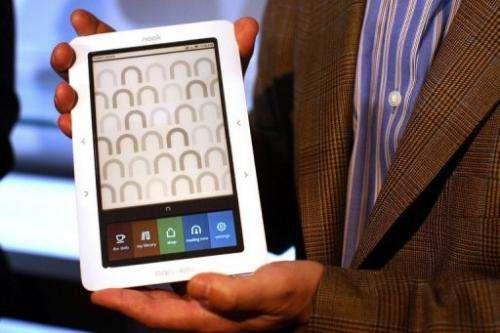 A Nook digital reader is displayed on October 20, 2009 in New York City
