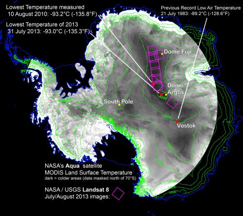 Antarctica set record of -135.8 F (-94.7 C)