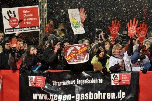 Anti-fracking protestors in Berlin on February 8, 2013