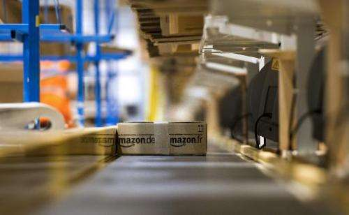 A parcel is readied to be shipped to a client on December 13, 2012 by online retailer Amazon in Chalon-sur-Saone, France