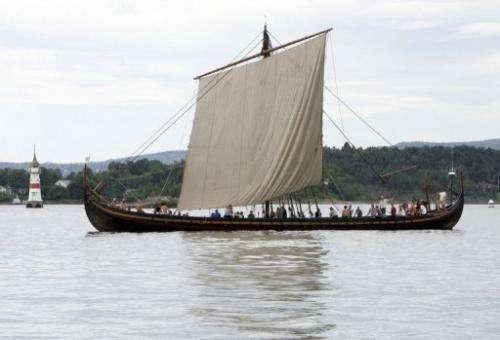 A replica of a Viking ship sails near Oslo on June 17, 2006