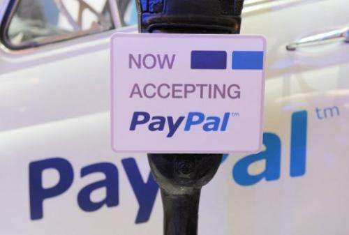 A sign promoting payment service PayPal at LeWeb Paris 2012 in Saint-Denis, near Paris on December 5, 2012