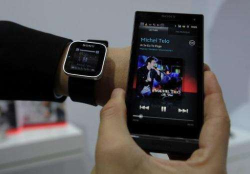 A Sony smartwatch, conected to a mobile phone, is seen at the Mobile World Congress in Barcelona, on February 28, 2012