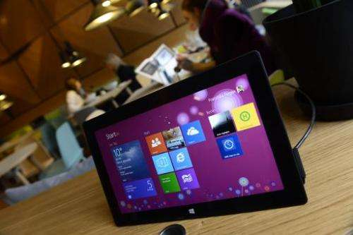 """A tablet is seen at the """"Microsoft Berlin"""" venue on November 5, 2013 in Berlin"""
