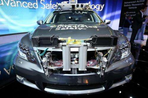 A Toyota Lexus self-driving car on display at the Consumer Electronics Show in Las Vegas on January 8, 2013