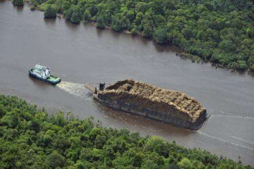 A tugboat pulls a barge loaded with logs on Sumatran river on October 16, 2010