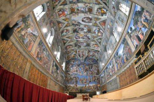 A view inside the Sistine Chapel in the Vatican ahead of a cardinals' conclave on March 9, 2013