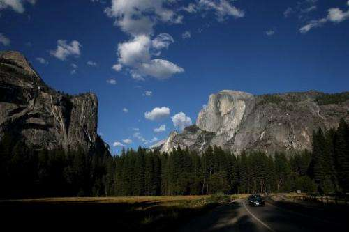 A view of Half Dome and the Yosemite Valley on August 28, 2013 in Yosemite National Park, California
