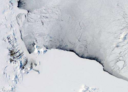A view of the Western Ross Sea and Ice Shelf in Antarctica, seen from a NASA satellite on October 16, 2012