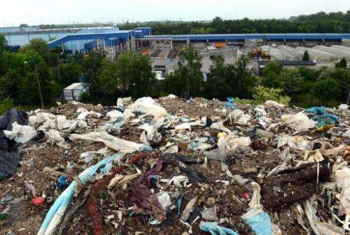 A waste dump site is seen on the outskirts of Polish capital Warsaw on May 24, 2013.