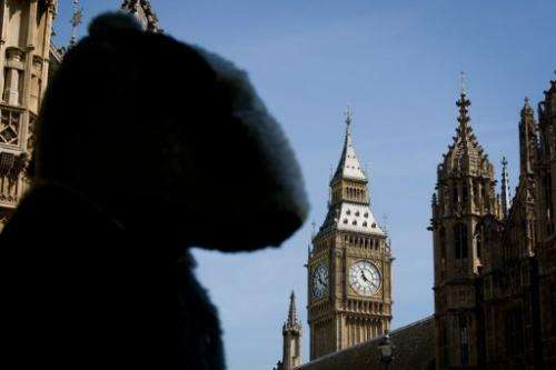 A woman in badger costume looks toward the Houses of Parliament, on June 5, 2013, during a protest against the plan