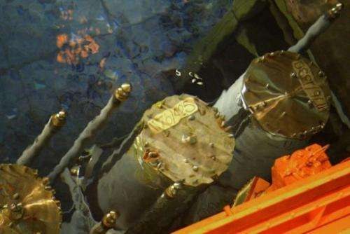 Barrels containing high level radioactive nuclear waste is stored in a pool in North England on September 26, 2002